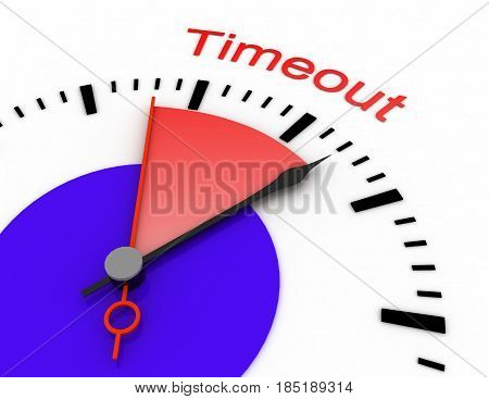 Clock With Red Seconds Hand Area Burnout 3D Timeout.rendered Illustration