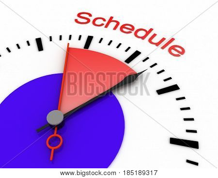 clock with red seconds hand area burnout 3d schedule .rendered illustration