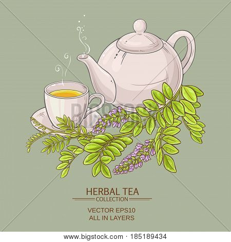 cup of licorice tea and teapot on color background