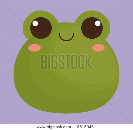 cute frog animal icon over purple background. colorful design. vector illustration