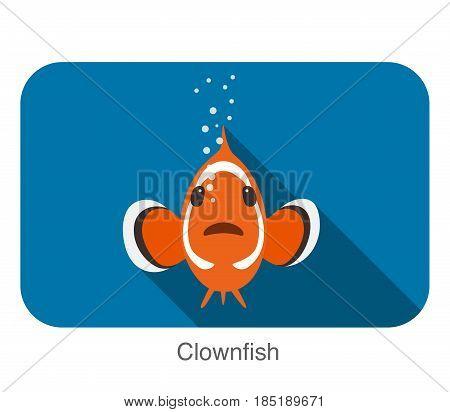 Cute Cartoon Clownfish Flat Icon Design, Vector Illustration