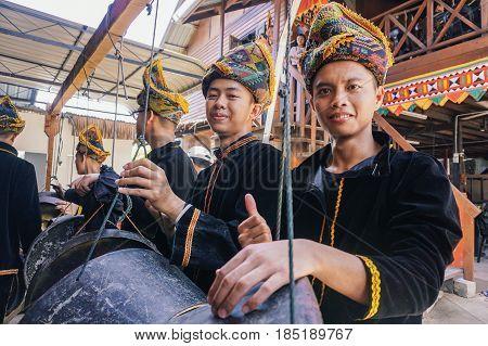 Penampang,Sabah-May 31,2016:Group of Kadazandusun man,ready to play traditional musical instrument called the