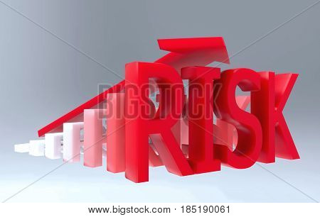 3d Illustration start from white color and grown up to red color RISK word.