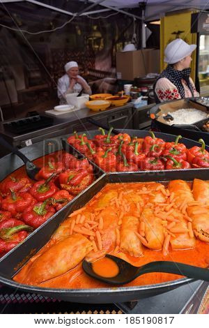 VILNIUS LITHUANIA - MAY 7: Vilnius celebrate the European Day with a traditional restaurant fair in the centre of Vilnius on May 7 2017 in Vilnius Lithuania.