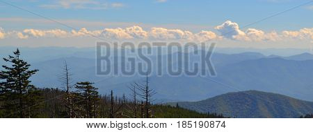 Appalachian mountains with a stream of clouds above.