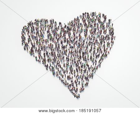 People made heart, crowd or mob, 3d render or illustation