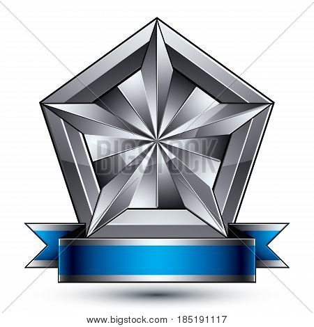 Heraldic 3d glossy blue and gray icon - can be used in web and graphic design complicated facet silver star placed over shield magnificent element with elegant ribbon clear EPS 8 vector.