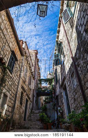 Beautiful Narrow Street In Dubrovnik