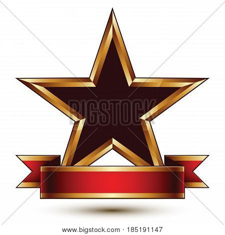 Glamorous vector template with pentagonal black stars with golden outline best for use in web and graphic design. Conceptual heraldic icon with red curved ribbon clear eps8 vector.