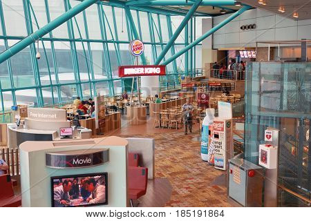 SINGAPORE - CIRCA SEPTEMBER, 2016: Burger King at Singapore Changi Airport. Changi Airport is one of the largest transportation hubs in Southeast Asia.