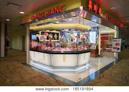 SINGAPORE - CIRCA AUGUST, 2016: Bee Cheng Hiang at Singapore Changi Airport. Bee Cheng Hiang is a company that produces Asian-style foodstuffs, especially that of Singaporean cuisine.
