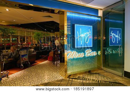SINGAPORE - CIRCA AUGUST, 2016: Harry's Bar at Singapore Changi Airport. Changi Airport is one of the largest transportation hubs in Southeast Asia.