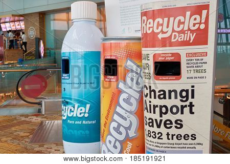 SINGAPORE - CIRCA SEPTEMBER, 2016: Recycle Bins at Changi Airport. Changi Airport is one of the largest transportation hubs in Southeast Asia.
