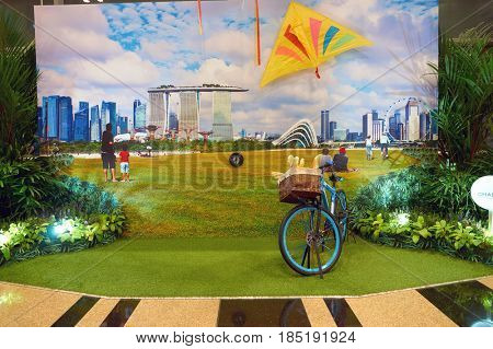 SINGAPORE - CIRCA AUGUST, 2016: inside Singapore Changi Airport. Changi Airport is one of the largest transportation hubs in Southeast Asia.