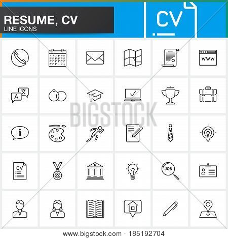 Line Icons set for Resume or CV. Outline vector symbol collection linear pictogram pack isolated on white logo illustration