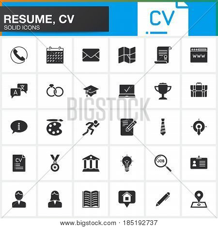 Vector icons set for Resume or CV. Modern solid symbol collection filled pictogram pack isolated on white logo illustration