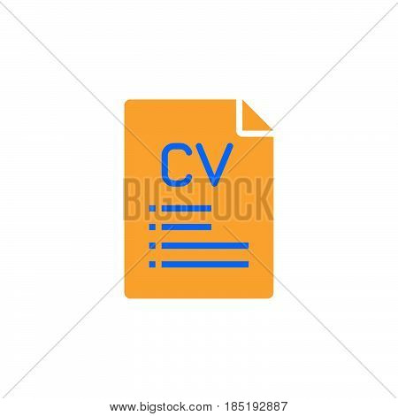 Cv, Resume Icon Vector, Filled Flat Sign, Solid Colorful Pictogram Isolated On White, Logo Illustrat
