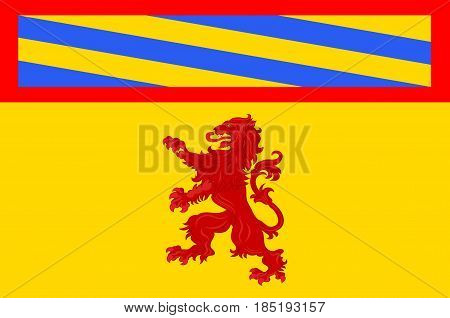 Flag of Autun is a commune in the Saone-et-Loire department in Bourgogne-Franche-Comte in eastern France. Vector illustration