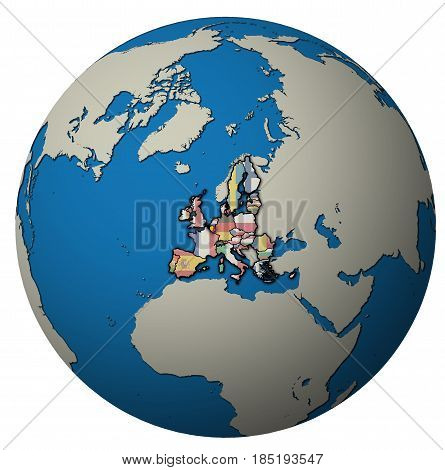 Belgium Territory With Flag Over Globe Map