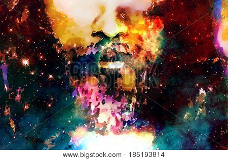 Detail of Jesus face in cosmic space. Computer collage version