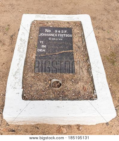 GENADENDAL SOUTH AFRICA - MARCH 27 2017: An historic grave at the mission in Genadendal. Genadendal is the first mission station in South Africa founded 1738