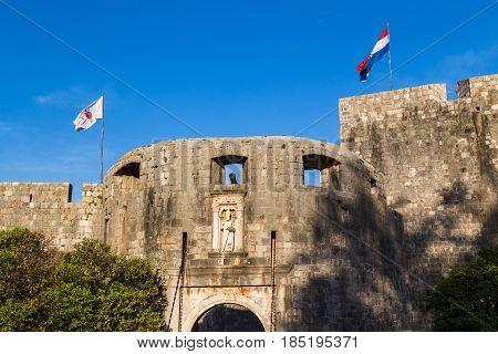 Flags Of Dubrovnik & Croatia Above Pile Gate