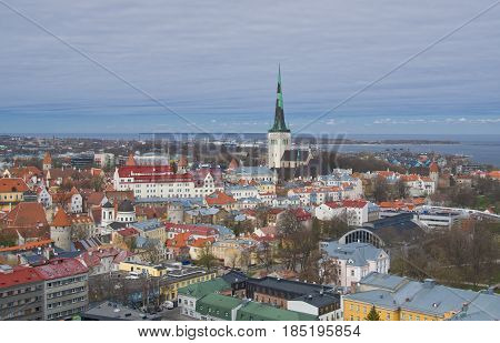 Panoramic view of old city of Tallinn with Oleviste (St.Olaf) church in the middle Estonia.