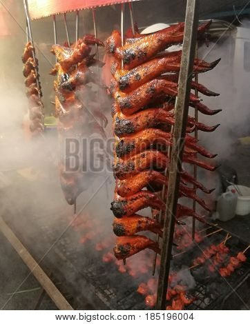 Malaysia street food, grilled chicken wings
