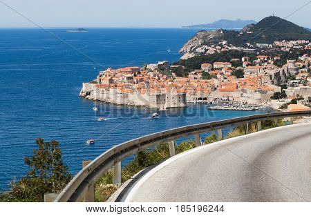 Dubrovnik seen at the foot of the southernmost region of Croatia in South Dalmatia.