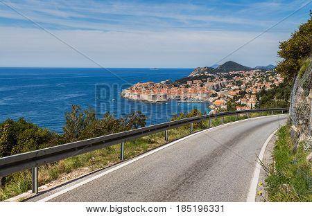 Winding roads lead along the rocky coastline towards Dubrovnik.