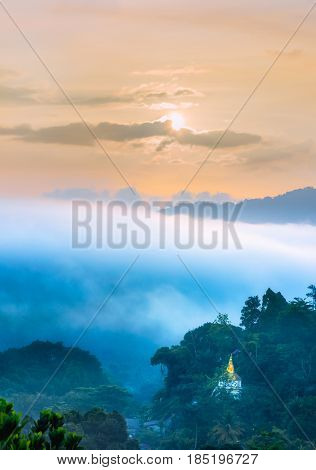 Landscape view of Wat Hat Som Paen temple on peak mountain at Ranong province Southern of Thailand.