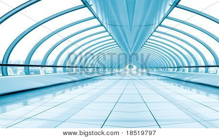 abnehmender Korridor, Brücke innen blau