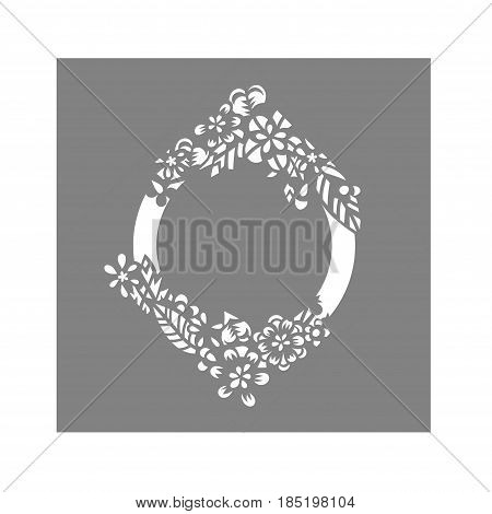 Laser cut flower pattern for wedding invitation envelope. Vector template ready for printing, postcards packets, wedding invitation, engraving, paper, wood, metal.