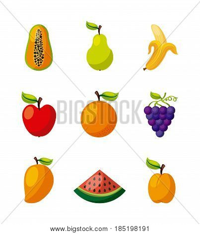 assorted fruits vegetables healthy organic vegetarian foods related icons image vector illustration design