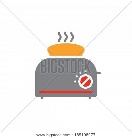 Toaster with toast icon vector solid flat sign colorful pictogram isolated on white logo illustration