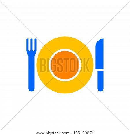 Plate Fork And Knife icon vector dishware solid flat sign colorful pictogram isolated on white logo illustration