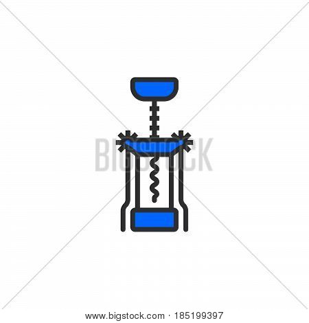 Corkscrew line icon Bottle opener filled outline vector sign linear colorful pictogram isolated on white. logo illustration