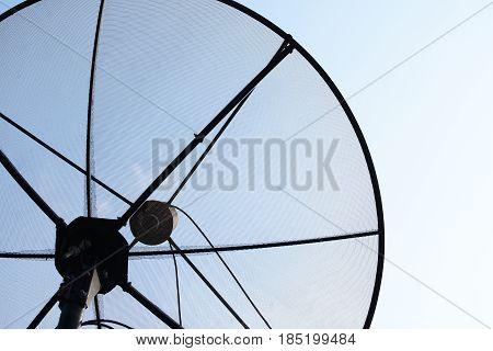 Satellite dishes closeup , Communication technology network.