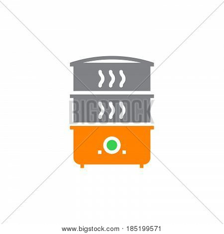 Electric Food Steamer icon vector solid flat sign colorful pictogram isolated on white logo illustration