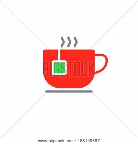 Teacup icon vector tea cup solid flat sign colorful pictogram isolated on white logo illustration