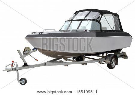Motor gray boat isolated on white background.