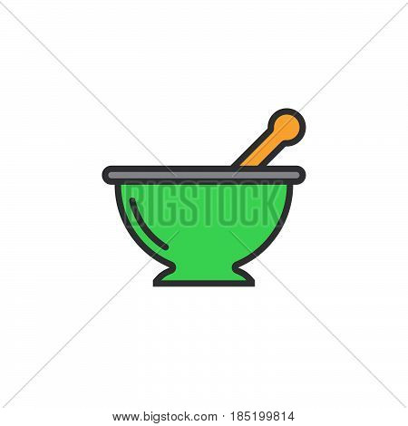 Mortar and pestle line icon Kitchen pounder filled outline vector sign linear colorful pictogram isolated on white. logo illustration