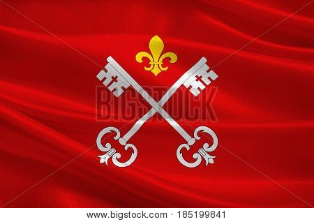 Flag of Louhans is a commune in the Saone-et-Loire department in the region of Bourgogne in eastern France. 3D illustration