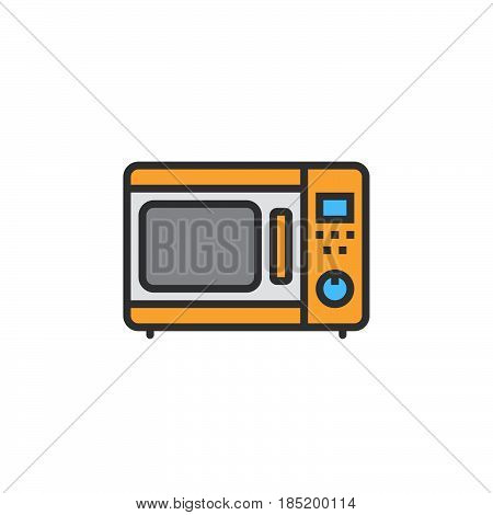 microwave oven line icon filled outline vector sign linear colorful pictogram isolated on white. logo illustration