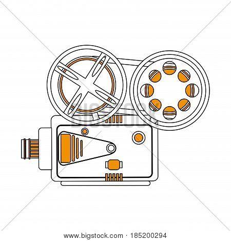 color silhouette image retro movie film projector vector illustration
