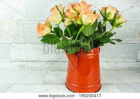 Red coffeepot with a bouquet of roses on a rustic white wooden background