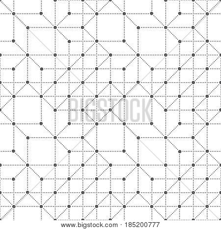 Seamless pattern. Abstract geometrical background. Original small dotted techno texture with repetition of geometrical shapes. Vector element of Business concept