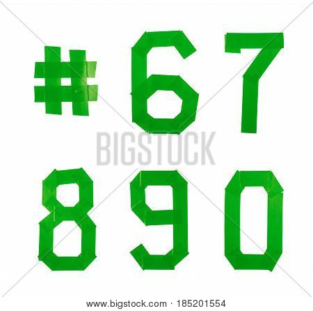 Set of five numbers made of insulating tape isolated over the white background