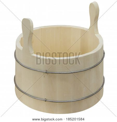 Wooden bucket with hoops of thick wire for soaking broom.
