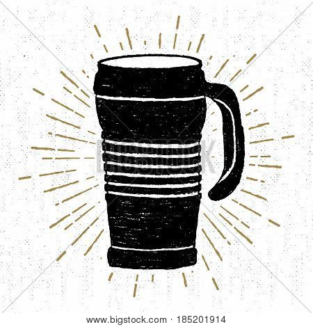 Hand drawn icon with a textured thermo cup vector illustration.